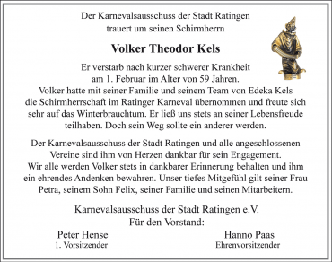 Nachruf Volker Theodor Kels